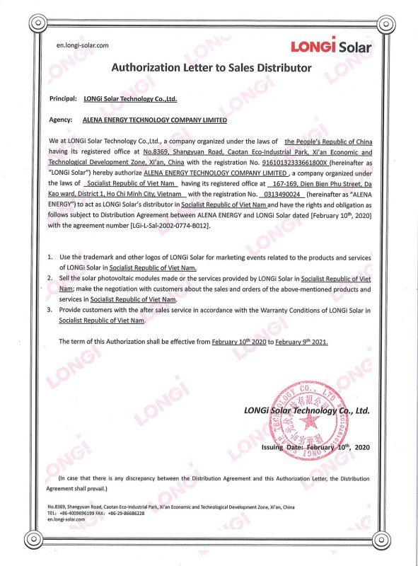 Athorization Letter Of Distributor Signed LONGi Alena