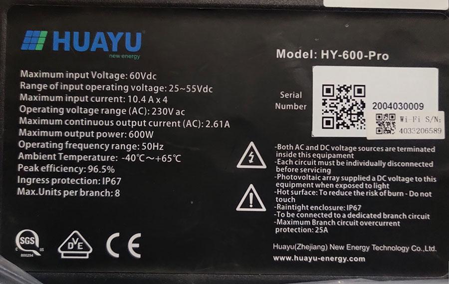 Thông số kỹ thuật trên tem HY-600-Pro