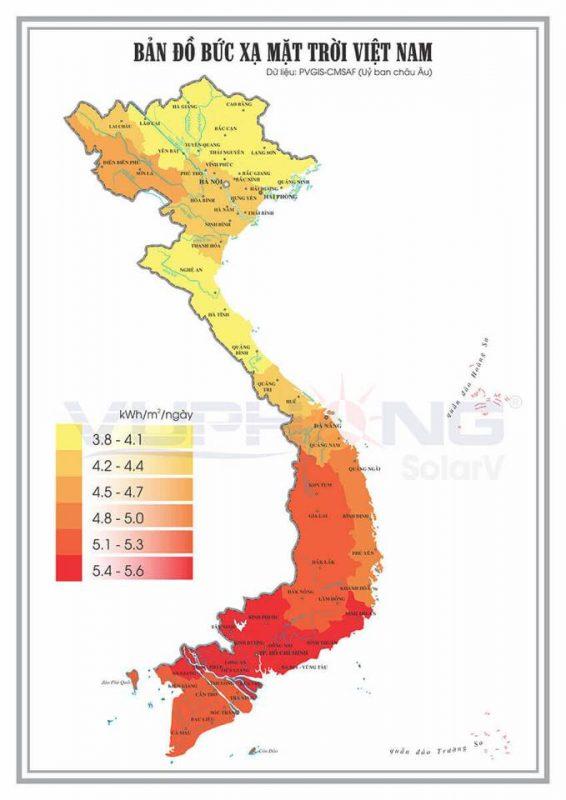 Bản đồ bức xạ mặt trời tại Việt Nam.