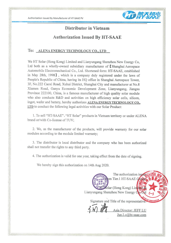 HT SAAE xác nhận Alena là Nhà phân phối được ủy quyền tại Việt Nam