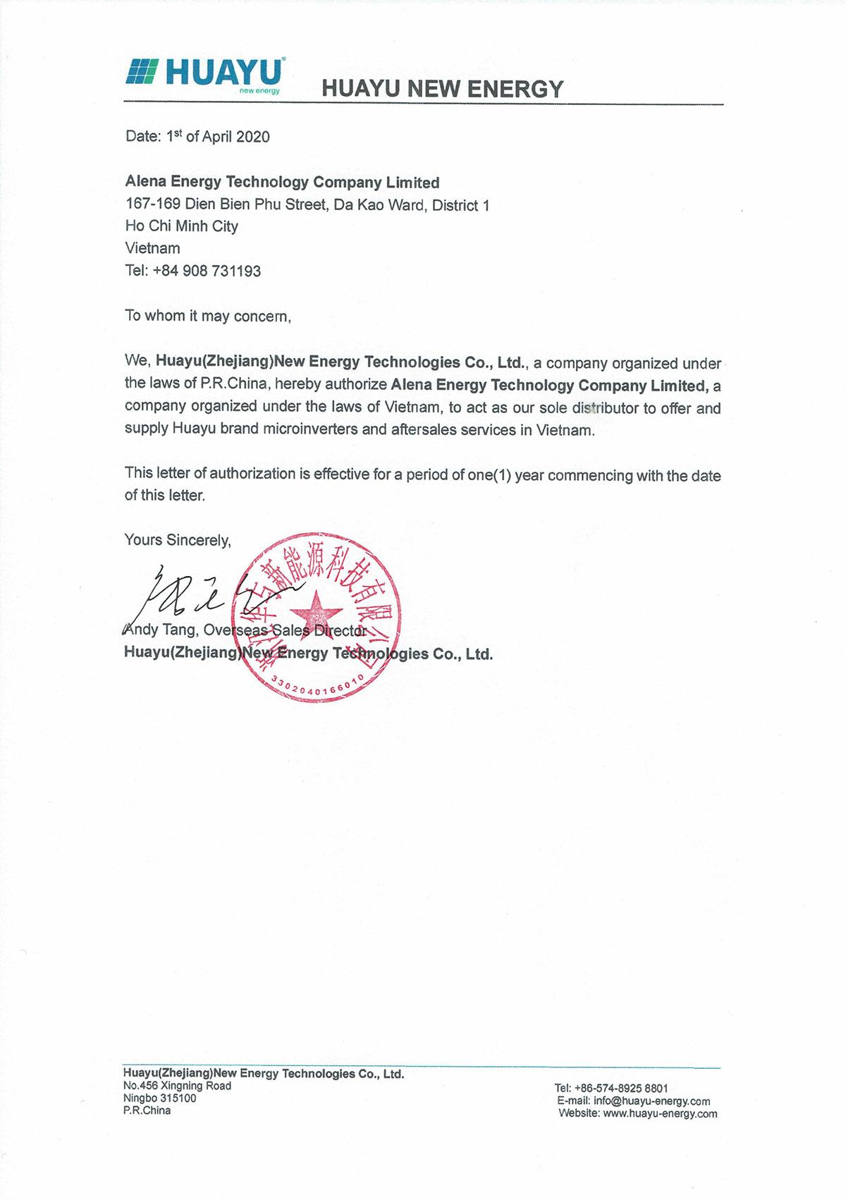 Thư ủy quyền phân phối Huayu tại Việt Nam