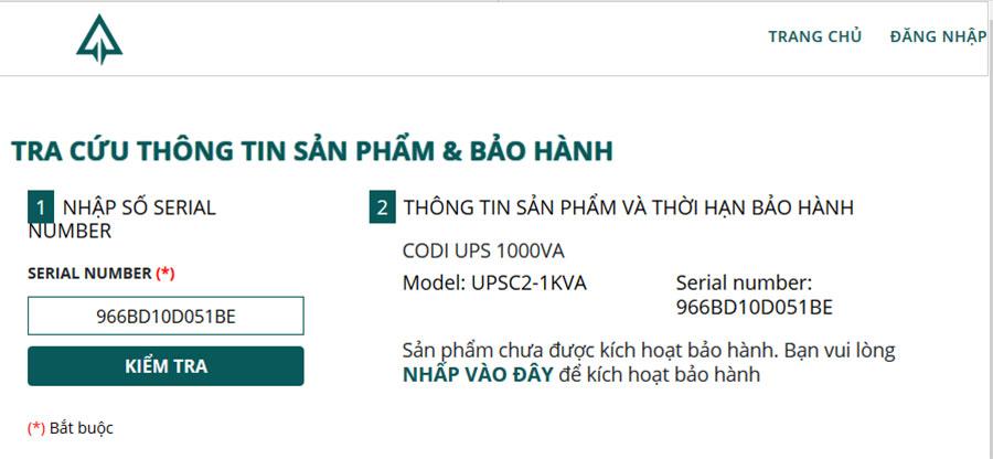 TRA CỨU THÔNG TIN SẢN PHẨM & BẢO HÀNH