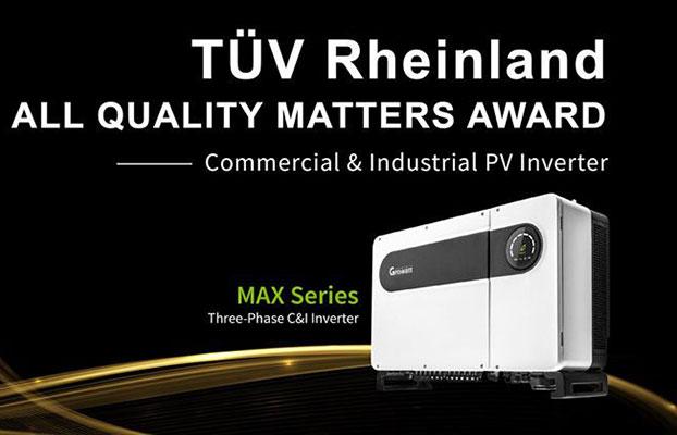 Growatt MAX là biến tần thương mại và công nghiệp (C&I) đạt chiêu chuẩn cao nhất và giành giải thưởng TÜV Rheinland nhiều năm liền.