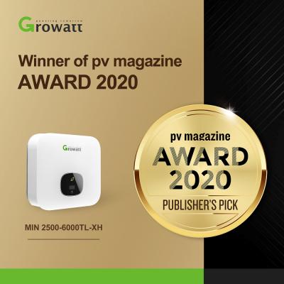 biến tần dân dụng thế hệ mới MIN 2500-6000TL-XH của Growatt đã được trao giải thưởng tạp chí PV magazine 2020