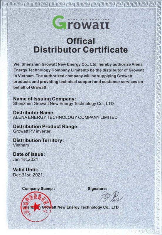 Giấy chứng nhận Alena là Nhà phân phối chính thức Growatt tại Việt Nam