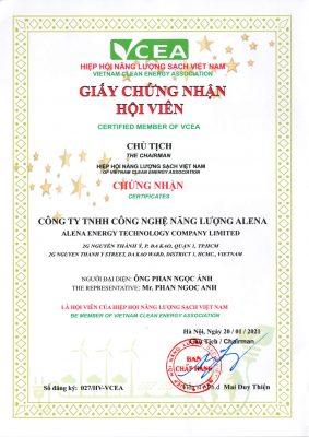 Giấy chứng nhận hội viên Hiệp hội Năng lượng sạch Việt Nam