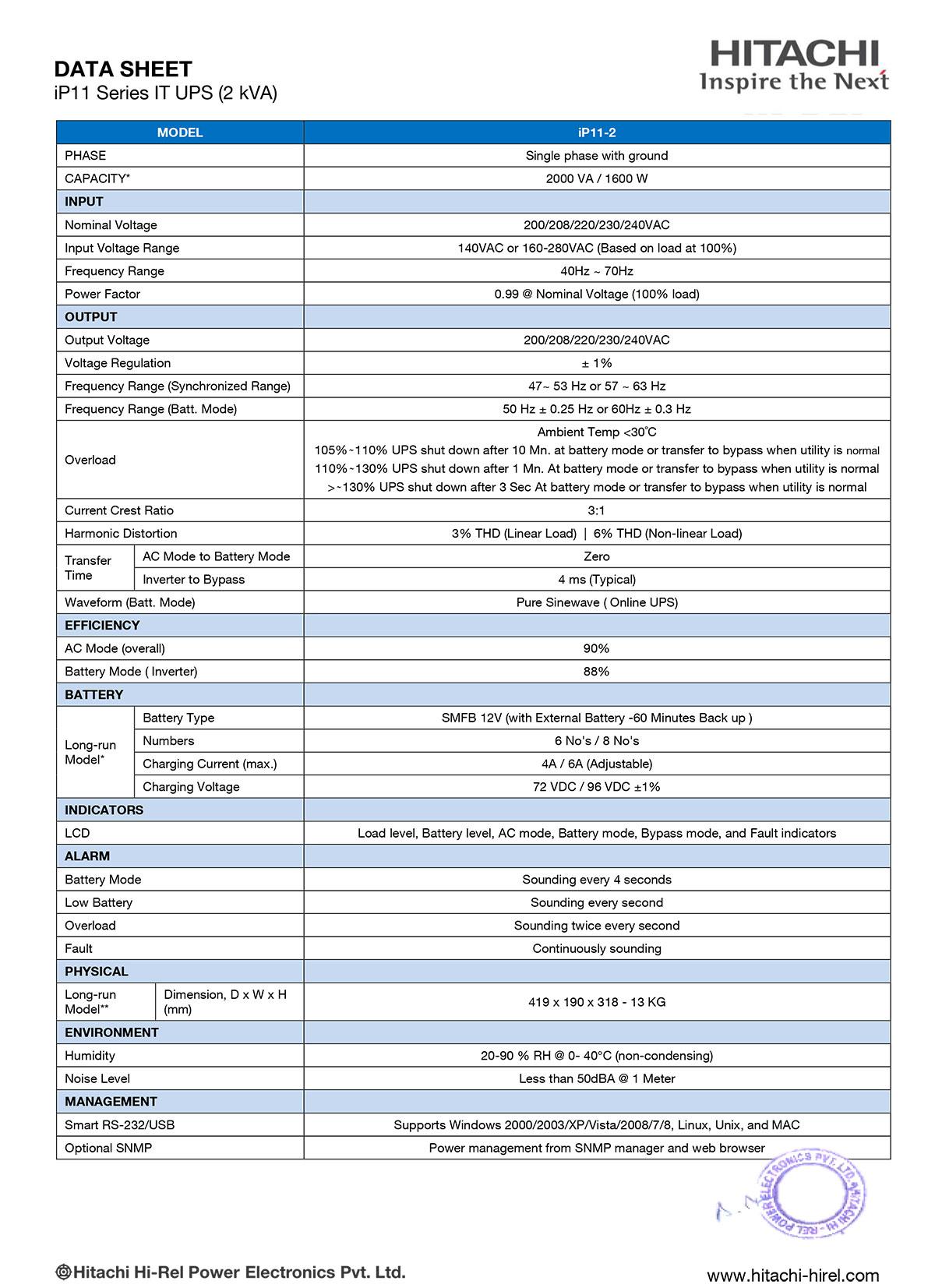 UPS Hitachi IP11-2 Datasheet