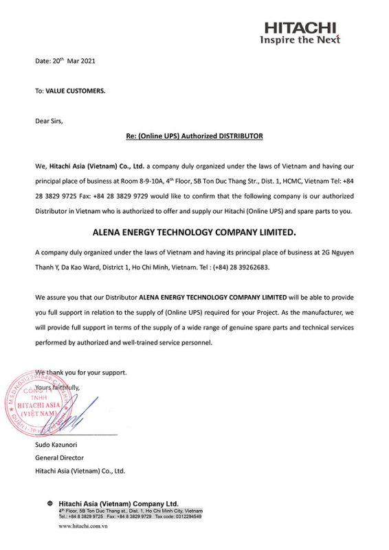 Hitachi gửi thư phân phối chính thức đến công ty Alena Energy