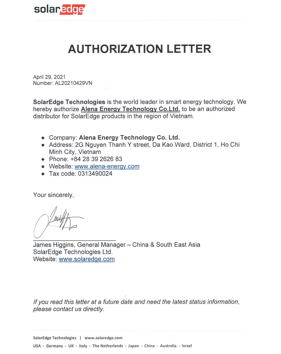 Giấy chứng nhận Alena là nhà phấn phối chính thức của SolarEdge tại Việt Nam