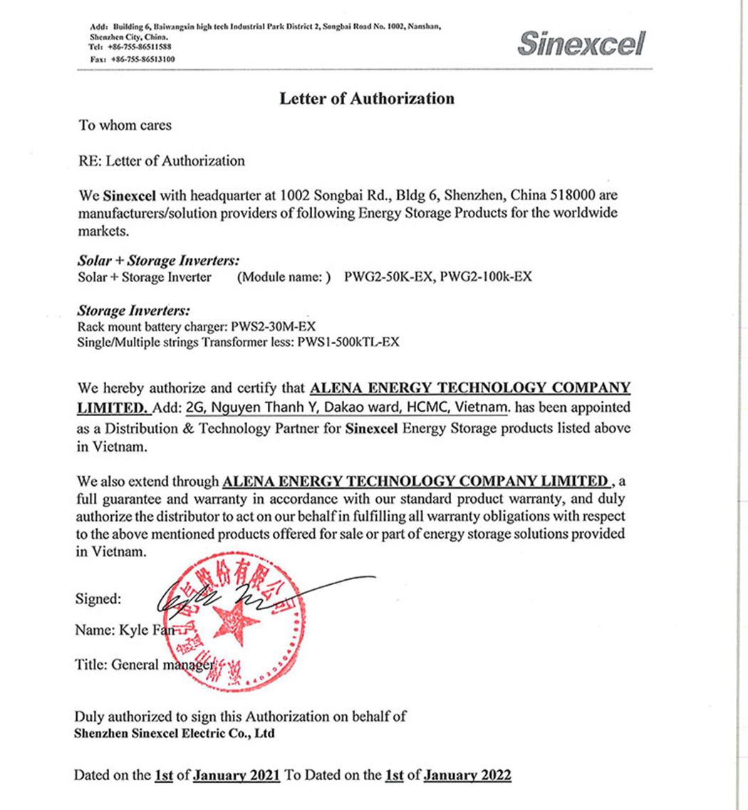 Thư ủy quyền phân phối sản phẩm Sinexcel