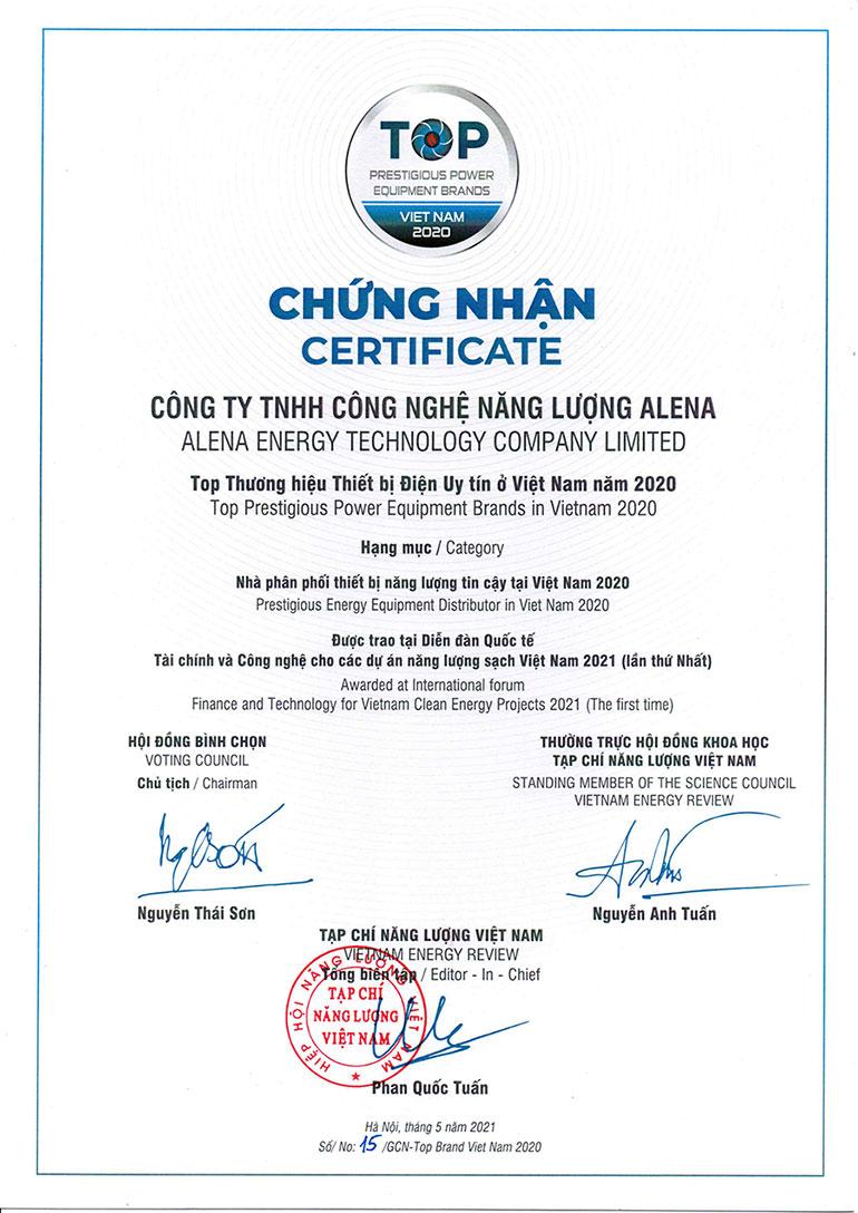 Alena nhận Chứng nhận Nhà phân phối thiết bị năng lượng tin cậy tại Việt Nam năm 2020