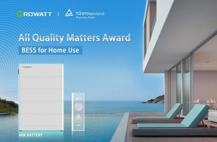 """Ắc quy ARK của Growatt giành giải thưởng """"All Quality Matters'."""